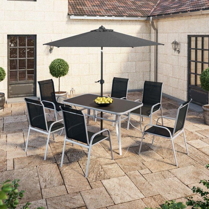 Table de jardin 150 cm + 6 fauteuils textilène Noir + Parasol droit gris -  VIGO