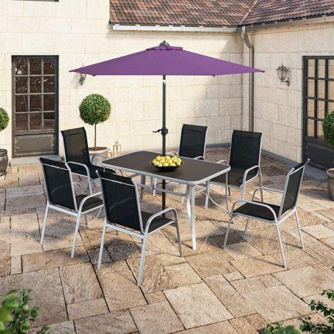 Table de jardin 150 cm + 6 fauteuils textilène Noir + Parasol droit violet - VIGO