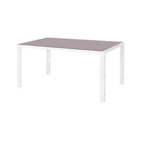 Table de jardin 150 cm en verre trempé taupe et acier blanc - 1314548