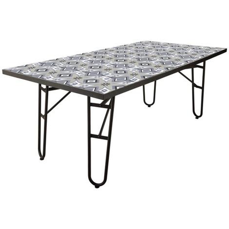 table de jardin 150cm en fer plateau carreaux de ciment. Black Bedroom Furniture Sets. Home Design Ideas