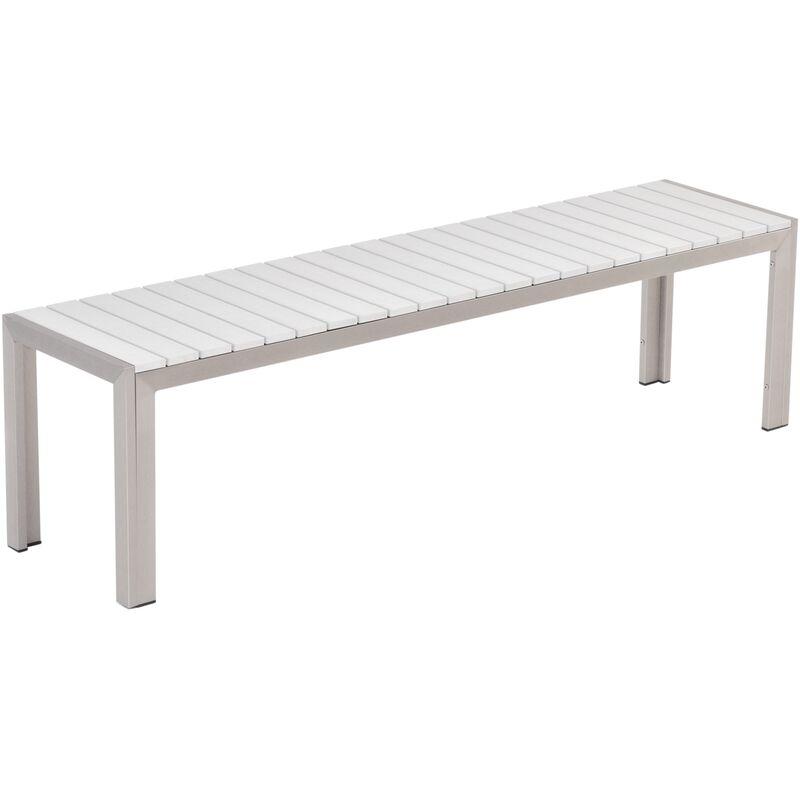 Table de jardin 180 x 90 cm blanche et argentée avec 2 bancs assortis