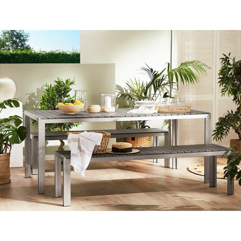 Table de jardin 180 x 90 cm grise et argentée avec 2 bancs assortis