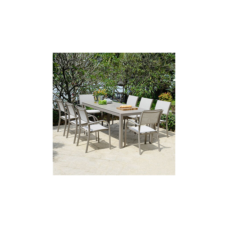 Table de jardin 201x81,7x74,4 cm en aluminium taupe - SIENA