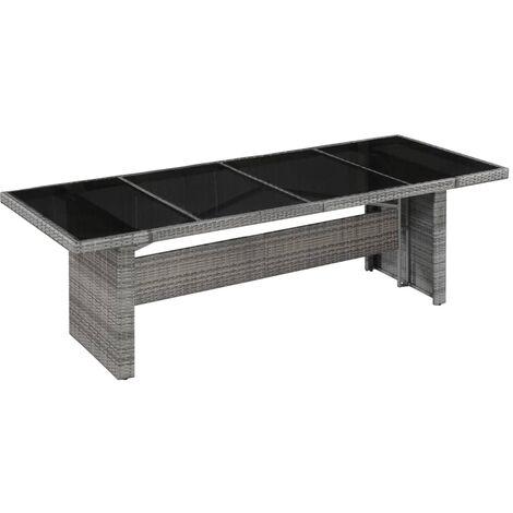 Table de jardin 240x90x74 cm Résine tressée et verre
