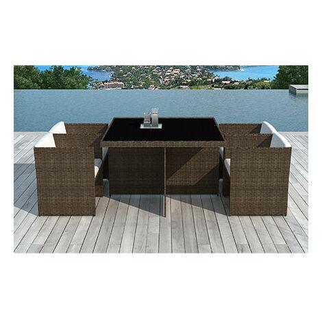 Table de jardin + 4 fauteuils encastrables en résine tréssée chocolat