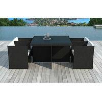 Table de jardin + 4 fauteuils encastrables en résine tréssée noire
