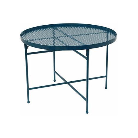 Table de jardin 50 cm en métal perforé bleu - PINTO