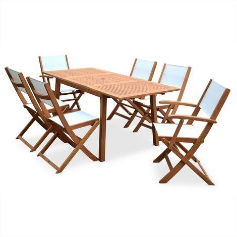 Table de jardin 6 chaises en bois - Almeria 180