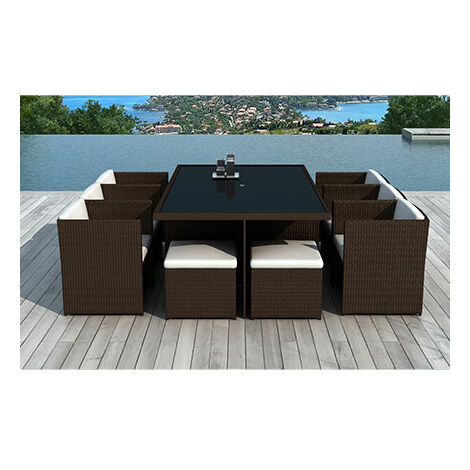 Table de jardin + 6 fauteuils + 4 poufs en résine tréssée chocolat ...