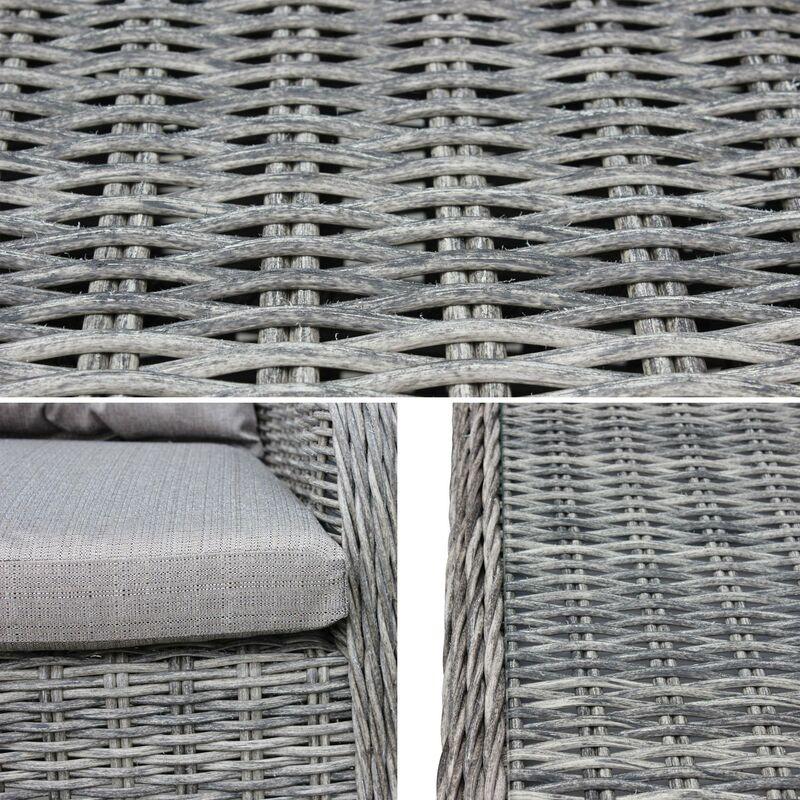 Table de jardin 6 places en résine tressée arrondie - Lecco Gris - Coussins  beige - 6 fauteuils, 1 grande table