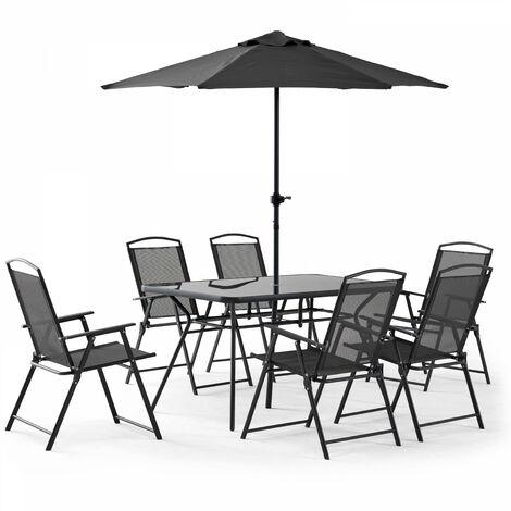 Table de jardin 6 places et parasol Bormes - Gris - Gris