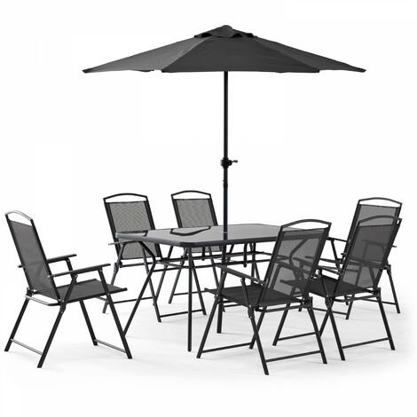 Table de jardin 6 places et parasol - Gris - 103564