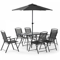 Table de jardin 6 places et parasol - Gris
