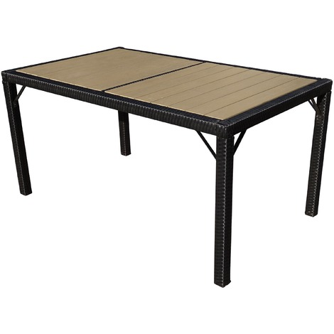 TABLE DE JARDIN 6 PLACES SALLY - PLASTIQUE GRIS NOIR L.190CM ...