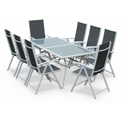 Table de jardin 8 fauteuils aluminium - Naevia