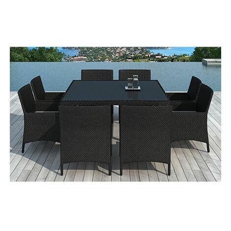 Table de jardin + 8 fauteuils en résine tréssée noire coussins écrus