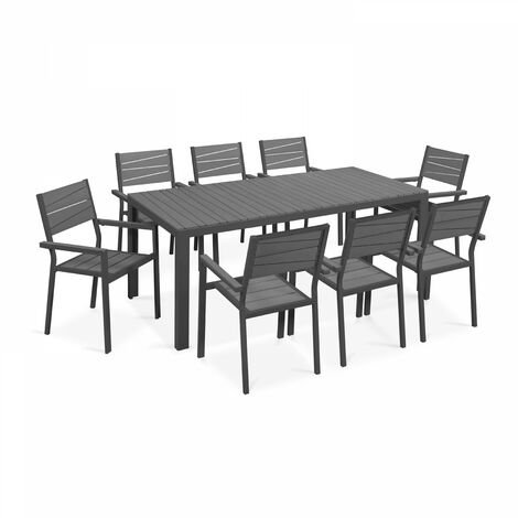 Table de jardin 8 places aluminium et polywood - Gris - 103636