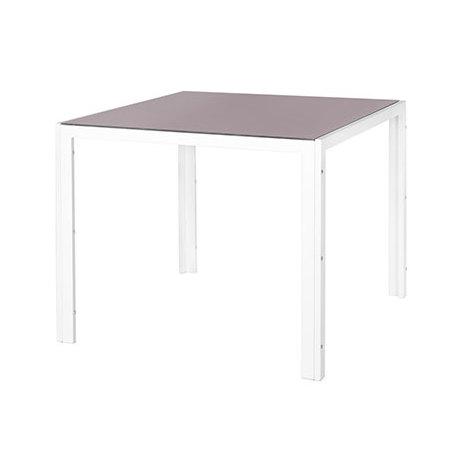 Table de jardin 90 cm en verre trempé taupe et acier blanc