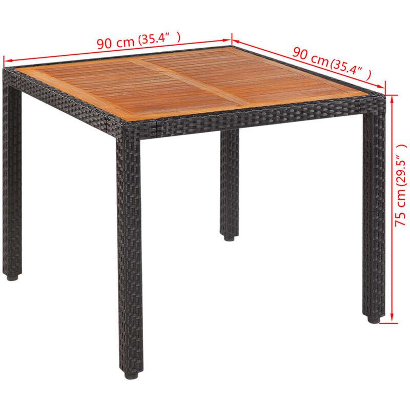 Table de jardin 90x90x75 cm Résine tressée et bois d\'acacia