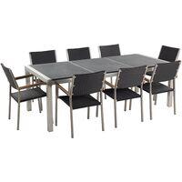Table 220 Rotin Inox Noir Avec De 8 Chaises Acier Grosseto Triple Jardin Granit En Flambé Plateau Cm kZOTPiXu