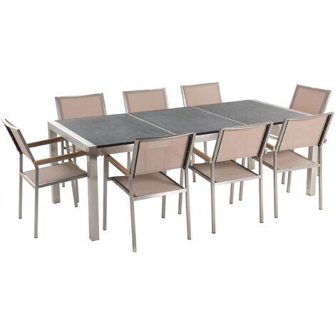 Table de jardin acier inox plateau granit triple noir flambé 220 cm avec 8 chaises en textile beige GROSSETO
