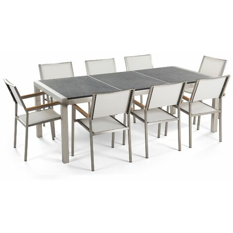 Table de jardin acier inox plateau granit triple noir flambé 220 cm avec 8 chaises en textile blanc GROSSETO