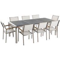 Table de jardin acier inox - plateau granit triple noir flambé 220 cm avec  8 chaises en textile blanc - Grosseto