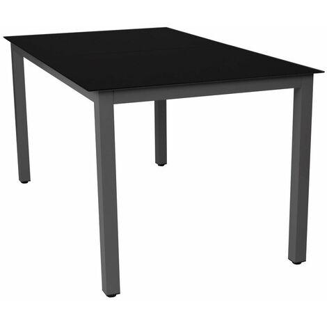 Table de jardin aluminium noir et verre 147 cm mobilier de jardin