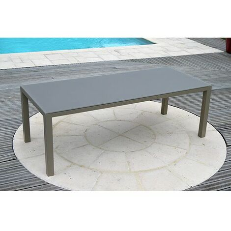 Table de jardin aluminium plateau verre 2,2 m x 0,9m x 0,8 m