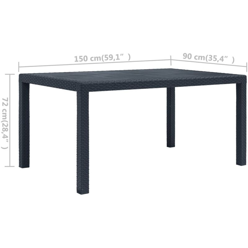 Table de jardin Anthracite 150x90x72 cm Plastique Aspect rotin