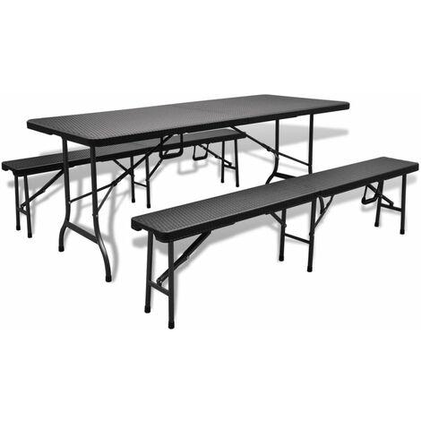 Table De Jardin Avec 2 Bancs Hdpe Faux Rotin Noir 180 Cm