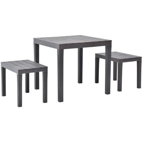 Table de jardin avec 2 bancs Plastique Marron