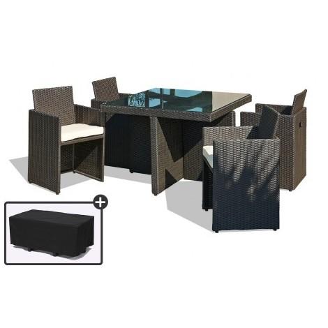 Table Fauteuils Et De Avec 4 Une Encastrables Noirs Jardin Housse roexdQBCW