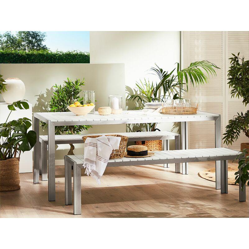 Table De Jardin Avec Deux Bancs Aluminium Plateau En Plastique Blanc