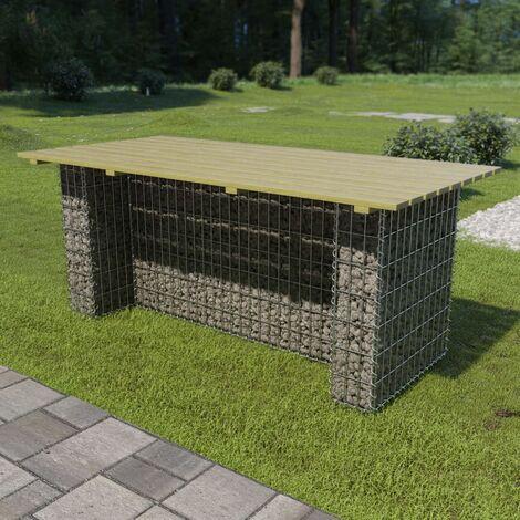 Table de jardin avec gabion d'acier 180x90x74 cm Bois de pin