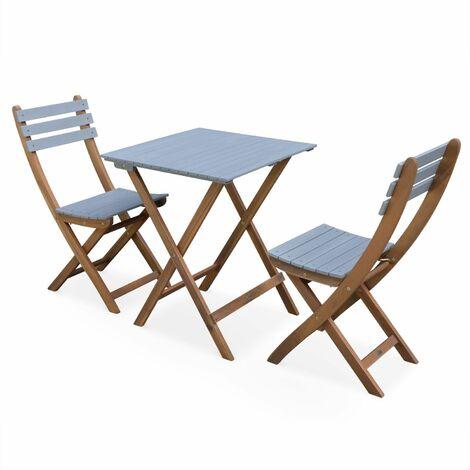 Table de jardin bistrot 60x60cm - Barcelona Bois / Gris clair ...