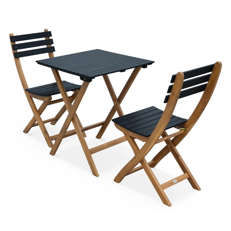 Table De Jardin Bistrot 60x60cm Barcelona Bois Noir Pliante
