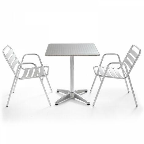 Table de jardin bistrot carrée aluminium et 2 fauteuils Chelsea - Gris