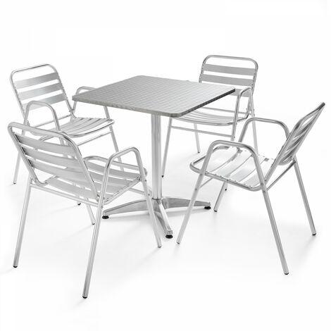Table de jardin bistrot carrée et 4 fauteuils en aluminium Chelsea - Gris