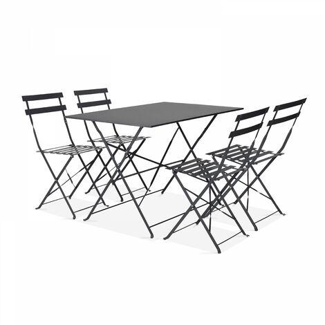 Table de jardin bistrot et 4 chaises pliantes Rome - Gris - Gris