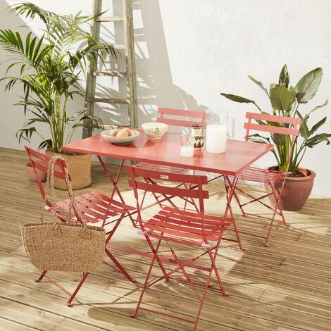 Table de jardin bistrot pliable en métal - Emilia 110