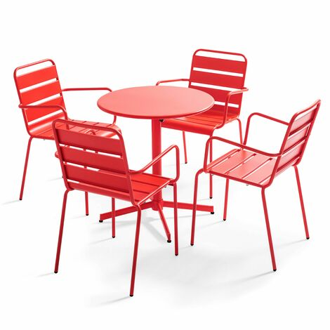 Table de jardin bistrot rabattable ⌀70cm et 4 fauteuils en métal Palavas