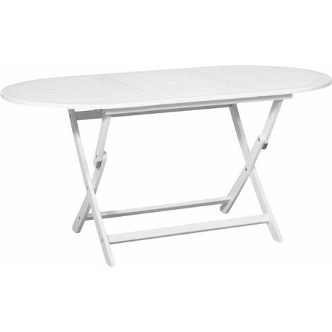 Table De Jardin Blanc 160 X 85 X 75 Cm Bois D Acacia Massif 44046
