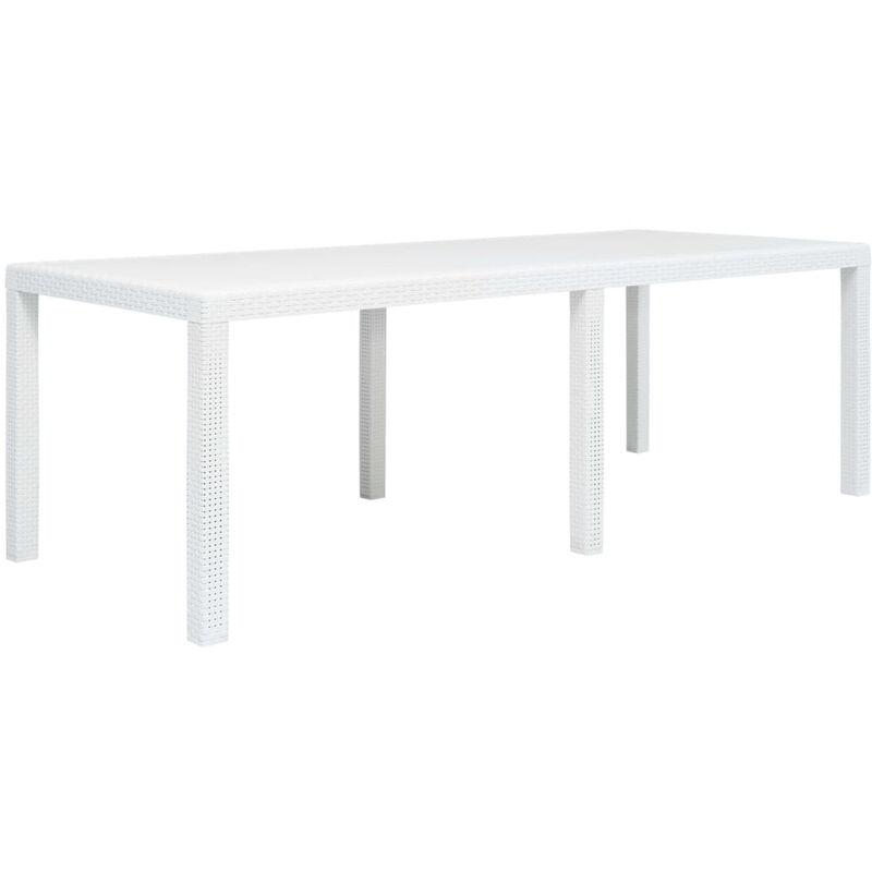 Asupermall - Table de jardin Blanc 220x90x72 cm Plastique Aspect de rotin