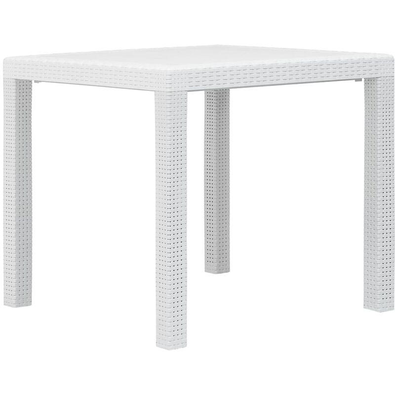 Table de Jardin Aspect de Rotin Plastique Blanc 79x79x72 cm