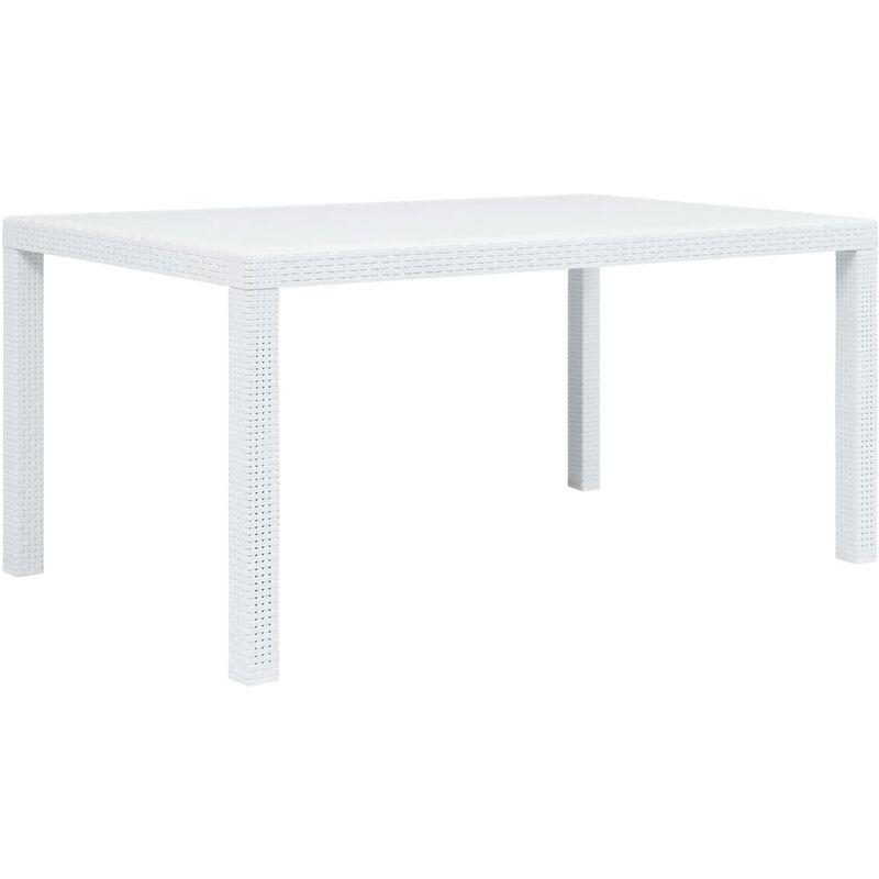 Table de Jardin Aspect de Rotin Plastique Blanc 150x90x72 cm
