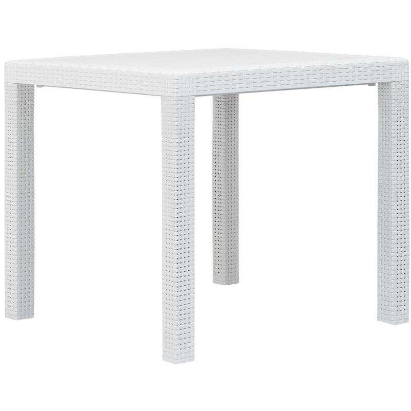 Asupermall - Table de jardin Blanc 79x79x72 cm Plastique Aspect de rotin
