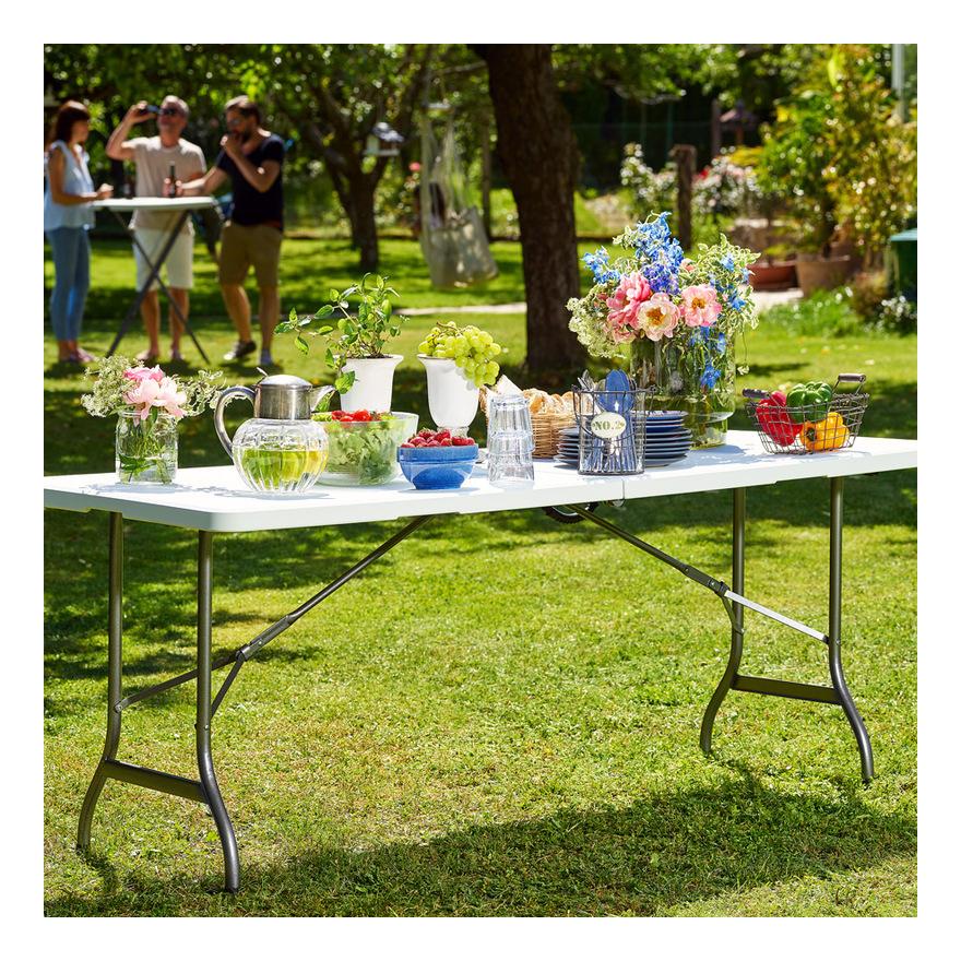 Table de jardin blanc pliable plastique 220x70x72cm buffet table pliante  robuste