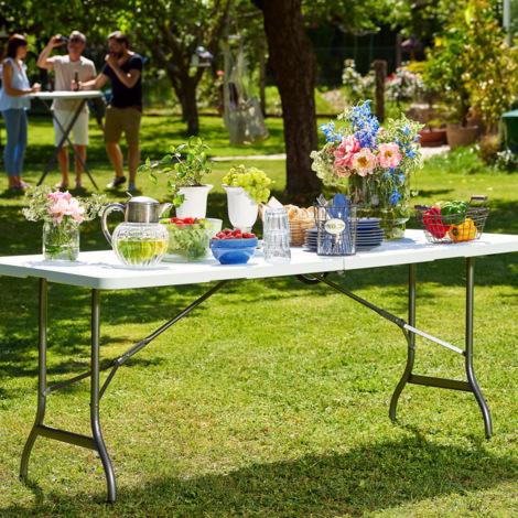 Table de jardin blanc pliable plastique 220x70x72cm buffet ...