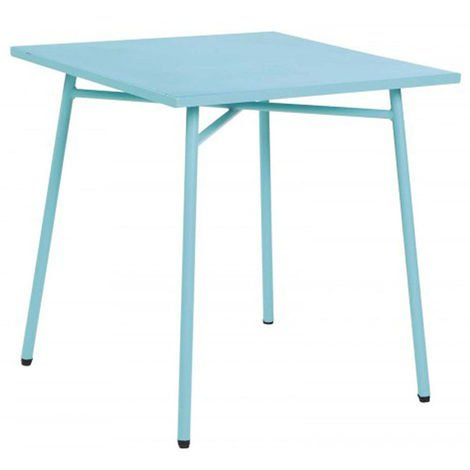 Table de jardin carree en acier coloris bleu lagon - Dim : 70 x 70 x 73cm  -PEGANE-